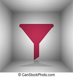 Filter simple sign. Bordo icon with shadow in the room.
