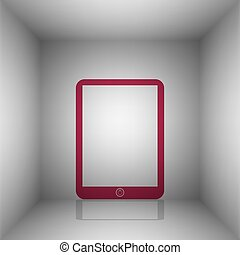 Computer tablet sign. Bordo icon with shadow in the room.