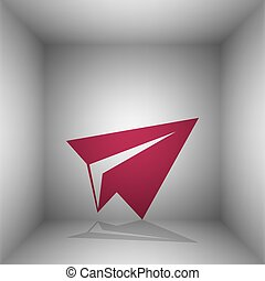 Paper airplane sign. Bordo icon with shadow in the room.