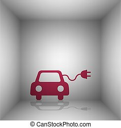 Eco electric car sign. Bordo icon with shadow in the room.