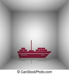 Ship sign illustration. Bordo icon with shadow in the room.