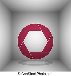 Photo sign illustration. Bordo icon with shadow in the room.