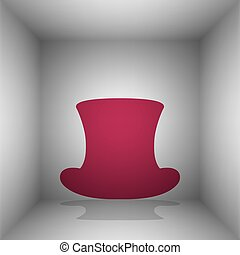 Top hat sign. Bordo icon with shadow in the room.