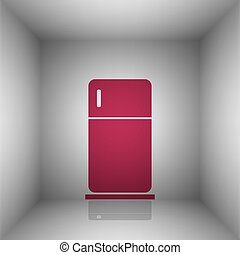 Refrigerator sign illustration. Bordo icon with shadow in...