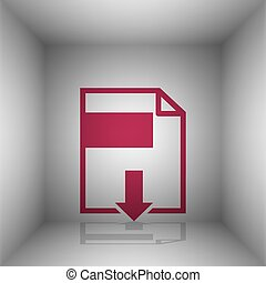File download sign. Bordo icon with shadow in the room.