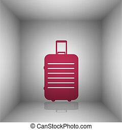 Baggage sign illustration. Bordo icon with shadow in the...