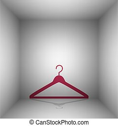 Hanger sign illustration. Bordo icon with shadow in the...
