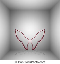 Wings sign illustration. Bordo icon with shadow in the room.