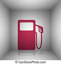 Gas pump sign. Bordo icon with shadow in the room.