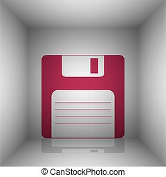 Floppy disk sign. Bordo icon with shadow in the room.