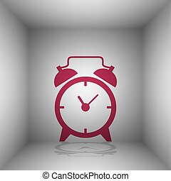 Alarm clock sign. Bordo icon with shadow in the room.