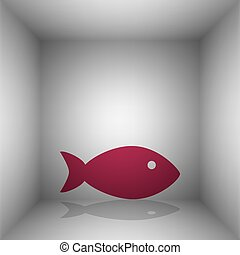 Fish sign illustration. Bordo icon with shadow in the room.