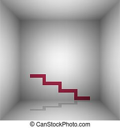 Stair down sign. Bordo icon with shadow in the room.