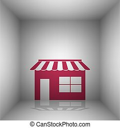 Store sign illustration. Bordo icon with shadow in the room.