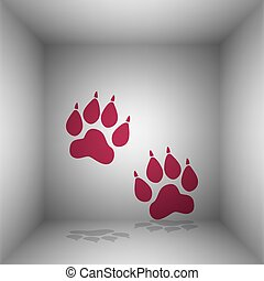 Animal Tracks sign. Bordo icon with shadow in the room.