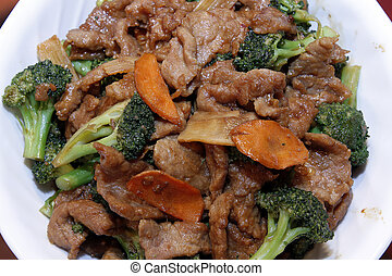 Chinese Food Beef with Broccoli and Carrot Stir Fry