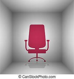 Office chair sign. Bordo icon with shadow in the room.