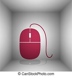 Mouse sign illustration. Bordo icon with shadow in the room.