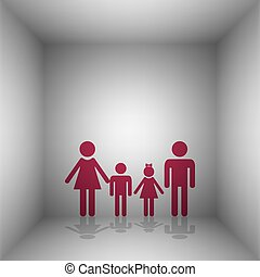 Family sign. Bordo icon with shadow in the room.