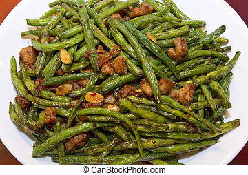 Chinese Food String Beans with Almond and Chicken Stir Fry