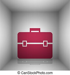 Briefcase sign illustration. Bordo icon with shadow in the...