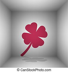 Leaf clover sign. Bordo icon with shadow in the room.