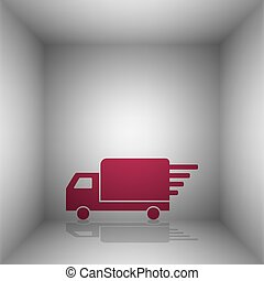 Delivery sign illustration. Bordo icon with shadow in the...