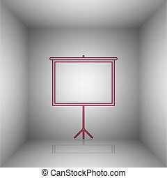 Blank Projection screen. Bordo icon with shadow in the room.