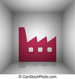 Factory sign illustration. Bordo icon with shadow in the...