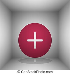Positive symbol plus sign. Bordo icon with shadow in the...