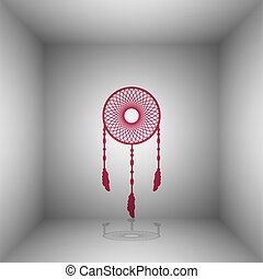 Dream catcher sign. Bordo icon with shadow in the room.