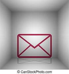 Letter sign illustration. Bordo icon with shadow in the...