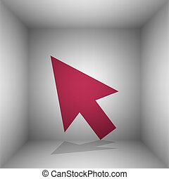 Arrow sign illustration. Bordo icon with shadow in the room.