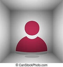 User sign illustration. Bordo icon with shadow in the room.