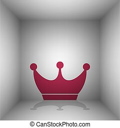 King crown sign. Bordo icon with shadow in the room.