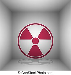 Radiation Round sign. Bordo icon with shadow in the room.