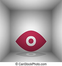 Eye sign illustration. Bordo icon with shadow in the room.