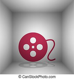 Film circular sign. Bordo icon with shadow in the room.