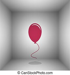 Balloon sign illustration. Bordo icon with shadow in the...