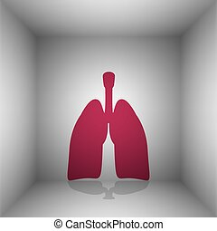 Human organs Lungs sign. Bordo icon with shadow in the room.