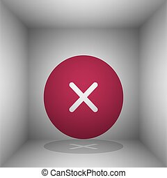 Cross sign illustration. Bordo icon with shadow in the room.