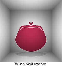 Purse sign illustration. Bordo icon with shadow in the room.