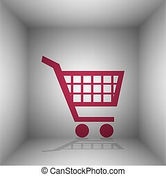 Shopping cart sign. Bordo icon with shadow in the room.
