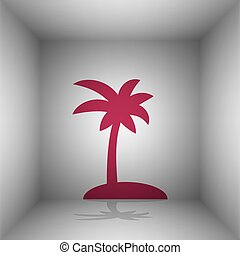 Coconut palm tree sign. Bordo icon with shadow in the room.