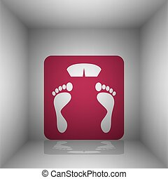 Bathroom scale sign. Bordo icon with shadow in the room.