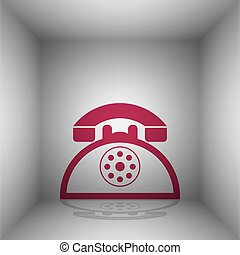 Retro telephone sign. Bordo icon with shadow in the room.