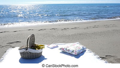 a fruit basket and a blanket for a picnic on the sandy beach...