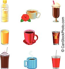 Various non-alcoholic drinks vector icons - Vector...