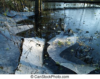 Thin ice in the evening - Partly broken ice of a pond