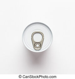 tin can overhead shot on white background. not isolated....